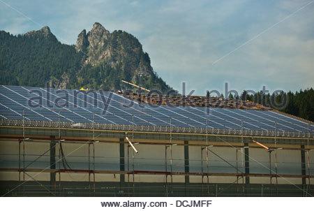 Solar panel on building roof Bavaria Germany - Stock Photo