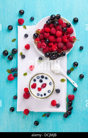 Colorful fresh summer berries shot from above - Stock Photo