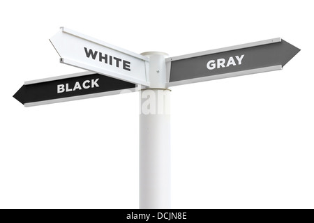 Black White Gray Crossroads Sign Isolated on White Background - Stock Photo