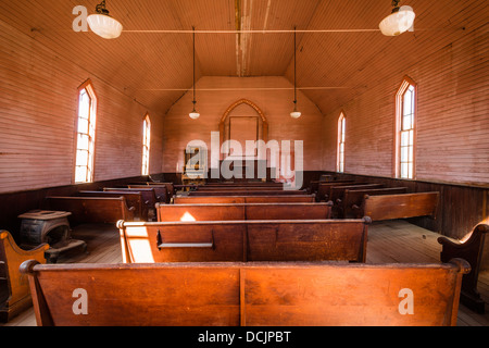 Interior of the Methodist Church, Bodie State Historic Park, California USA - Stock Photo