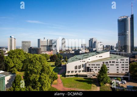 Skyliners Essen city center, with RWE Tower, EVONIK corporate headquarters, Aalto Theater, Opera. Essen City Garden - Stock Photo