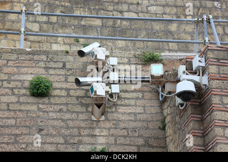 Surveillance cameras in the ruins of Herculaneum, Campania, Italy - Stock Photo