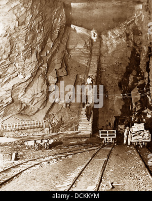 North Wales Llechwedd Slate Quarry / Mine Victorian period - Stock Photo