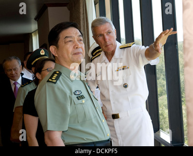 US Commander, United States Pacific Command, Adm. Samuel Locklear III shows Gen. Chang Wanquan, Chinese State Councilor - Stock Photo