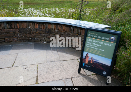 A sign for Free Guided Walks around the Ring of Brodgar on Mainland, Orkney. - Stock Photo