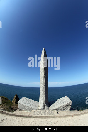 Pointe du Hoc monument to the American Ranger division under Colonel james E Rudder - Stock Photo