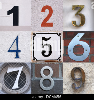 set of house numbers from one to nine - Stock Photo