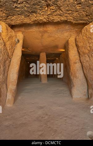 Dolmen of Menga, Menga Megalithic Dolmen, Antequera, Málaga province, Andalusia, Spain - Stock Photo