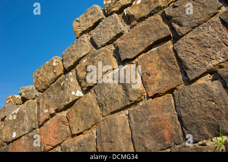Close-up of the ruins of Hadrian's Wall on Walltown Crags, Northumberland National Park, England - Stock Photo