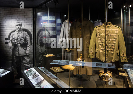 German First World War One uniforms and WWI battledress at the In Flanders Fields Museum, Ypres, West Flanders Belgium - Stock Photo