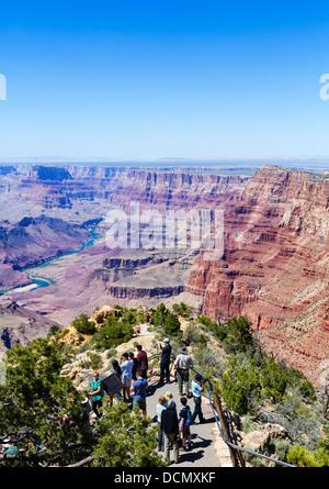 Tourists at Desert View Watchtower Overlook, South Rim, Grand Canyon National Park, Arizona, USA - Stock Photo