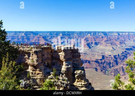Tourists at Mather Point, South Rim, Grand Canyon National Park, Arizona, USA - Stock Photo