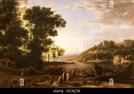 17th century  -  Landscape with Merchants, 1630 - Claude Lorrain Philippe Sauvan-Magnet / Active Museum - Stock Photo