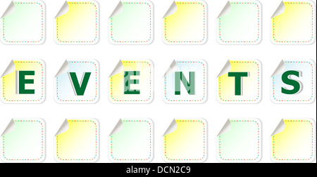 events word cloud written on a stickers - Stock Photo
