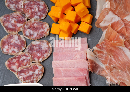 assorted cold cut platter - Stock Photo