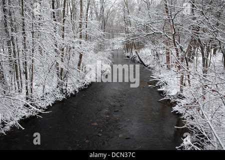 Snow Covered Trees Framing A Little Stream During Winter In The Park, Sharon Creek At Sharon Woods, Southwestern - Stock Photo