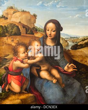 16th century  -  Madonna and Child with Child Saint John, 1505 - Fernando Yanez de la Almedina - Stock Photo