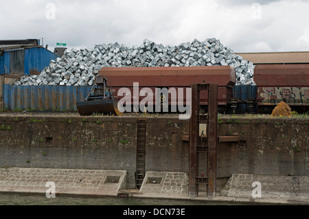 Scrap metal cubes, recycling centre, Duisburg, Germany. - Stock Photo