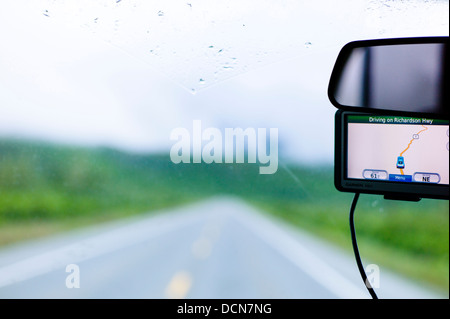 Foggy and wet Highway 4, Richardson Highway, Thompson Pass, near Valdez, Alaska, USA - Stock Photo