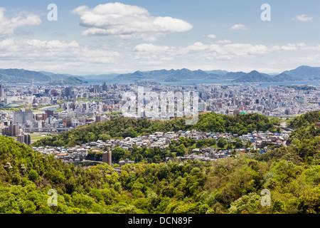 Hiroshima city and Hiroshima bay viewed from the top of Mount Mitaki in Japan. - Stock Photo
