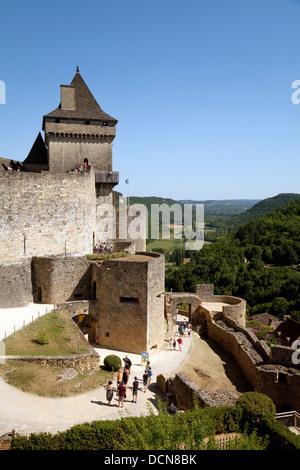 The 13th century medieval Chateau de Castelnaud, Castelnaud la Chapelle, the Dordogne, France - Stock Photo