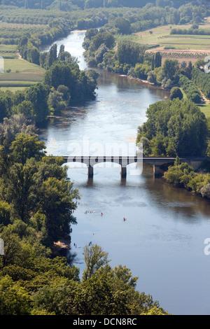 Dordogne river view from the belvedere, bastide village of Domme, Dordogne, France Europe - Stock Photo