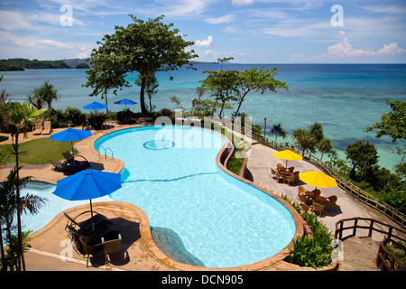 Swimming pool on Boracay island, Philippines - Stock Photo