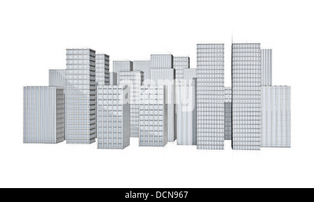 Architecture Sketch Of Modern City With Large Skyscrapers