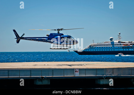 Helicopter landing of sea service, Cannes, French Riviera, France - Stock Photo