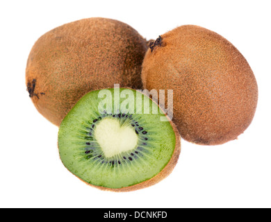 Very detailed surface of excellent quality kiwi fruit with heart shape center. Isolated for design projects - Stock Photo