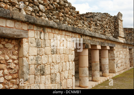 Architectural detail, Quadrangle of the Birds, Uxmal, Yucatan, Mexico - Stock Photo