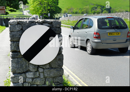 National speed limit sign on a countryside road Castleton Derbyshire uk - Stock Photo