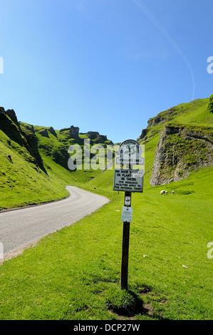 The winding road that passes through Winnats pass Castleton Derbyshire England uk - Stock Photo
