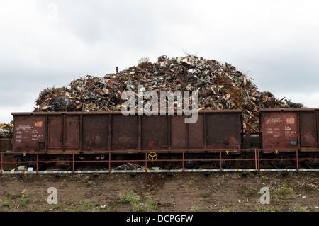 Scrap metal recycling yard, Duisburg, Germany - Stock Photo