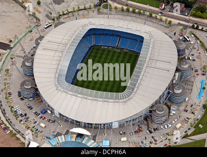 aerial view of Manchester City's football ground Etihad Stadium formerly The City of Manchester Stadium - Stock Photo
