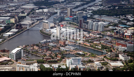 aerial view of Salford Quays in Manchester - Stock Photo