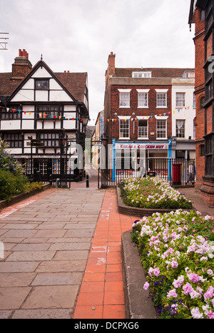 The Gates To Eastgate House looking out to Rochester High Street Kent UK - Stock Photo