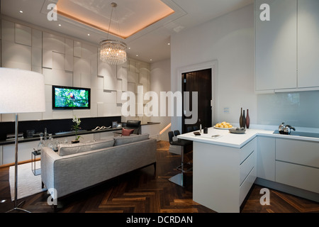 Open plan kitchen and sitting area in London city apartment - Stock Photo