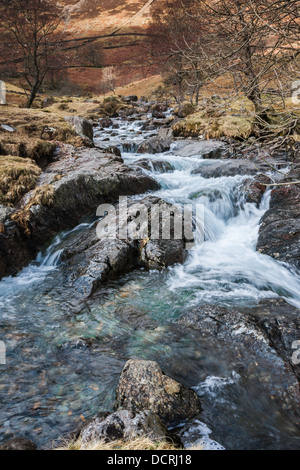 Mountain stream running through autumn landscape near Watkin Path, Snowdonia National Park, Gwynedd, Wales, United - Stock Photo