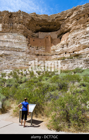 Tourist at Montezuma Castle National Monument, well preserved cliff dwelling of  Sinagua people, near Camp Verde, - Stock Photo