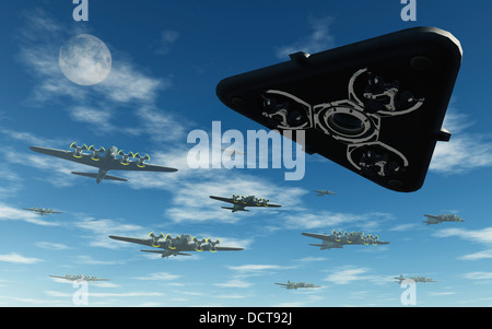 UFO 'Black Triangle'  Buzzing Allied Bombers During WW2 - Stock Photo
