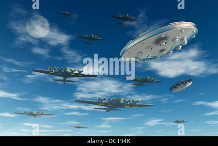 UFOs Buzzing Allied Bombers During WW2 - Stock Photo