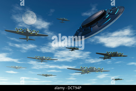 UFO  Buzzing Allied Bombers During WW2 - Stock Photo