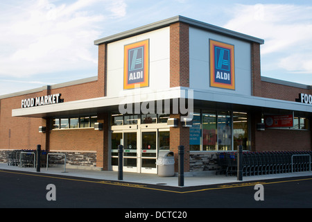 An Aldi discount grocery store.  - Stock Photo