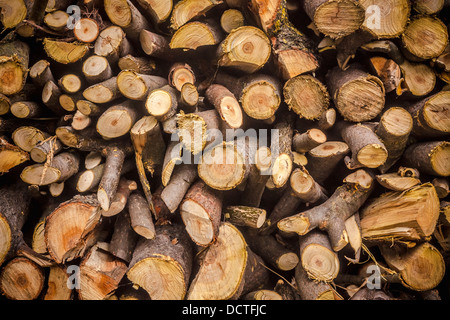 Pile Of Wood Logs Ready For Winter. Background - Stock Photo