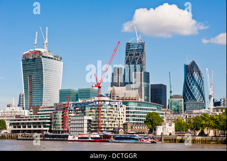 New London Skyline 2013 with skyscrapers of The City including 'The Gherkin' 'The Cheesegrater' and the 'Walkie - Stock Photo