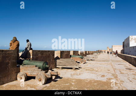 People On The City Walls Of Essaouira, Morocco - Stock Photo
