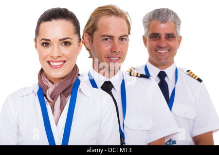 close up portrait of airline crew on white - Stock Photo