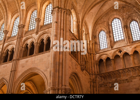 Looking up inside the Basilique Sainte-Marie-Madeleine in Vezelay. - Stock Photo