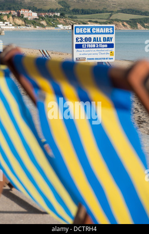 Deck Chair Sign On Beach Playa Las Vistas Los Cristianos